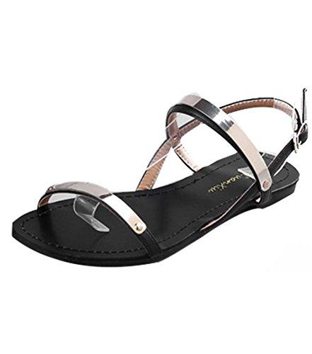 LvRao Mujeres Sandalias Bohemia lentejuelas Casual Zapatos Planos Sandalias de Playa Negro