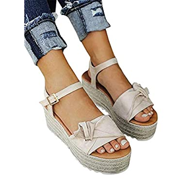 Syktkmx Womens Flatform Espadrille Sandals Open Toe Bowknot Ankle Strap Platform Wedge Sandals | Platforms & Wedges