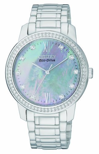 Citizen Eco-Drive Women's Quartz Watch with Mother of Pearl Dial Analogue Display and Silver Stainless Steel Bracelet (Silver Dial Analogue Display)