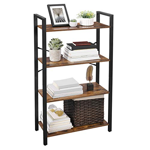 VASAGLE Ladder Shelf, 4-Tier Bookshelf Storage Rack, Living Room Bookcase, Stable Steel Frame, Bedroom, Office, Industrial Design, Rustic Brown ULLS60BX