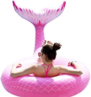 Jasonwell Giant Inflatable Mermaid Tail Pool Float with Fast Valves Summer Beach Swimming Pool Party Lounge Ra