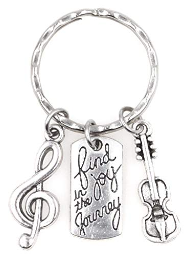 It's All About...You! Find Joy in The Journey Treble Clef Cello Violin Keychain 113M