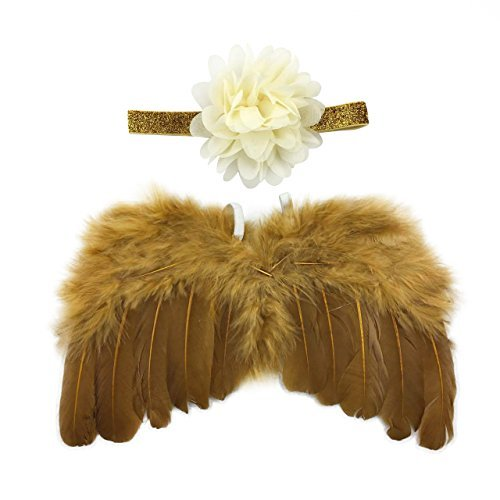 (Rebecca online Newborn Baby Gold Feather Angel Wings With Lotus Hairband, Halo Set (Gold))