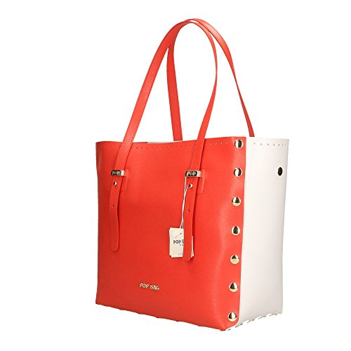 main Cm Sac cuir Corail in Made Saffiano Blanc véritable en à POP Bags 28x27x13 Italy femme Corail Impression q655tF