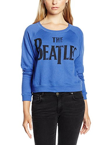 The Beatles Women's Drop T Logo Long Sleeve Sweatshirt, Blue, Size 12 (Logo Drop)