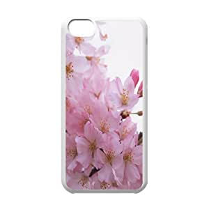 IPhone 5C Cases, Cherry Pink Flowers Young Cases for IPhone 5C {White}