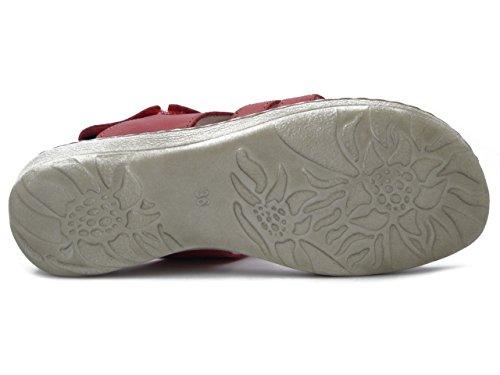 OSVALDO PERICOLI Greenhill Sandalo in Pelle Colore Rosso, Suola in Gomma Flessibile, 16160 E17