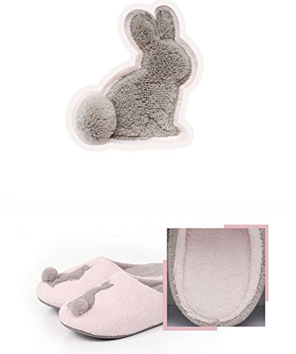 Kenabes Cute Rabbit Winter Soft Washable Womens House Slippers Grey NxwIE