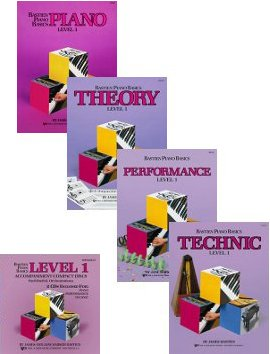 Bastien Piano Basics: Level 1 Set and CDs (4 Book, 2 CD Set, Piano, Theory, Technic, Performance Books, and Accompaniment CDs)