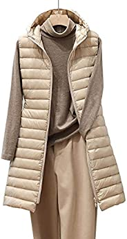 Quilted Puffer Vest Women Lightweight Winter Slim Mid Long Vest Coat Outerwear with Hood Pockets Full Zip Down
