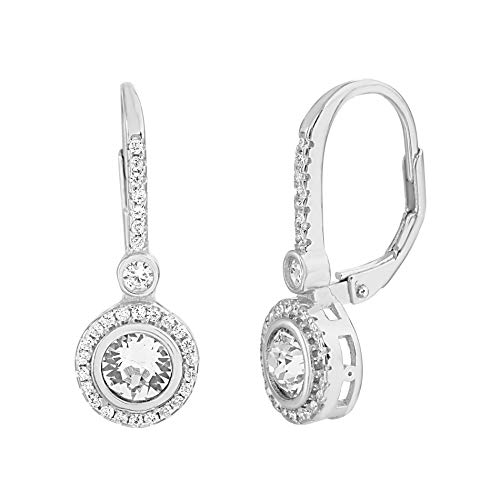 2ct Ladies Diamond Bezel - Devin Rose Rhodium Plated Sterling Silver Round Bezel Drop Earrings for Women made With Swarovski Crystals