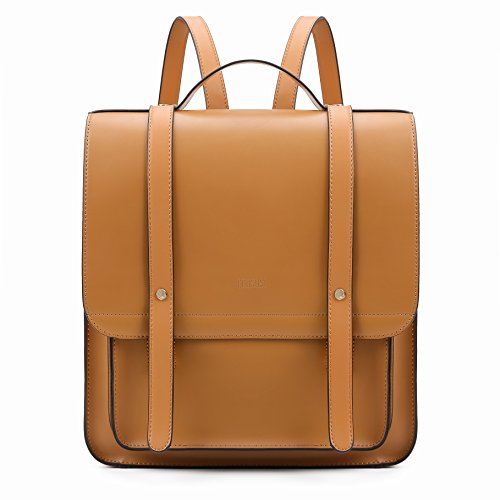 ECOSUSI Women Briefcase Laptop Backpack PU Leather Satchel Messenger Bag Fits up to 14 Inch Laptops with Small Purse, Brown