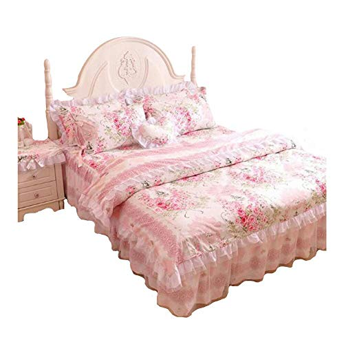 FADFAY,Romantic Flower Print Bedding Set,Floral Bed Set,Princess Lace Ruffle Duvet Cover King Queen Twin,4Pcs (TWIN)