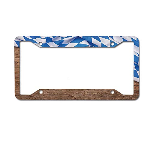 MichelleSmithred Oktoberfest Checkered Fabric on Wooden Background Rustic Country Style Design License Plate Frame Aluminum Car tag Cover 4 Holes and Screws for US and Canada ()