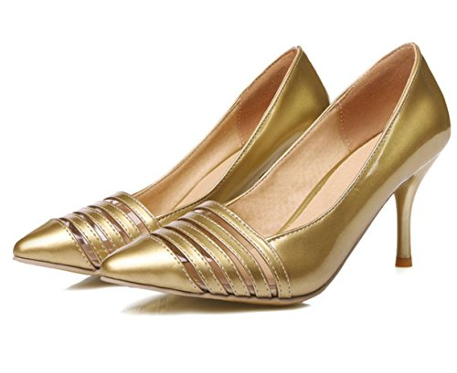 XDGG donne grandi dimensioni piccole scarpe Stiletto Heel Fashion Pointed Toe Sposa Scarpe Primavera E Estate Scarpe Singole , gold , 45 custom 2-4 days do not return