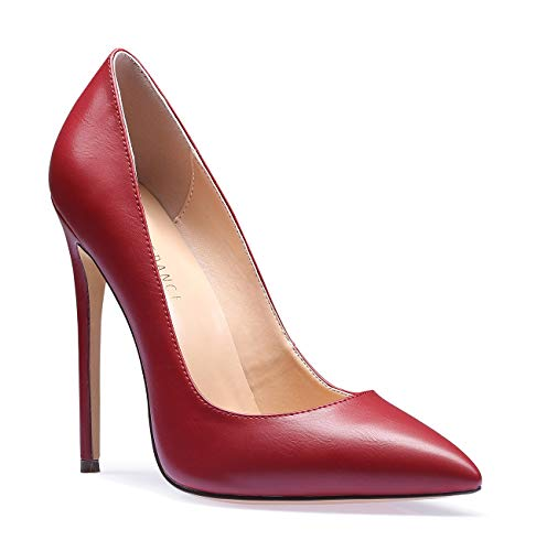 SUNETEDANCE Women's Slip-on Pumps High Heels Pointy Toe Sexy Elegant Stiletto Heels 12CM Heel Shoes Pu Burgundy Pump 9 M US ()