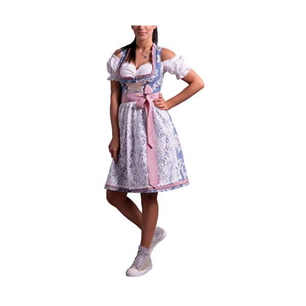 414K9sm6D3L. SS600 - Golden Trachten-Kleid Dirndl Damen 3 TLG, Midi für Oktoberfest, mit Schürze und Bluse Fernblau geblümt 536GT