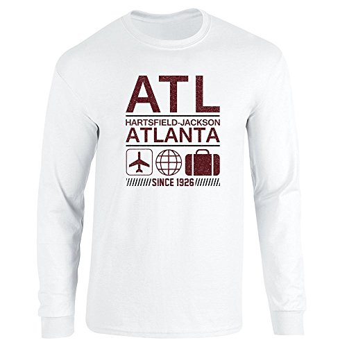Pop Threads ATL Atlanta Airport Code Since 1926 Travel White M Long Sleeve T-Shirt
