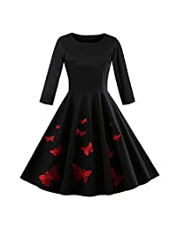 CieKen Clearance Women's Long Sleeve Halloween Costumes Casual Flare Swing Dress