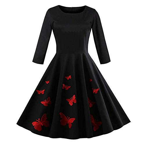 DongDong Vintage Dress,Womens Butterfly Embroidery O-Neck Long Sleeve