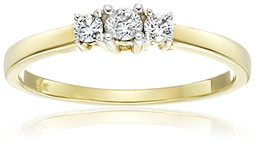 14k Yellow Gold 3 Band - 14k Yellow Gold Round 3-Stone Diamond Ring (1/4 cttw, I-J Color, I1-I2 Clarity), Size 8