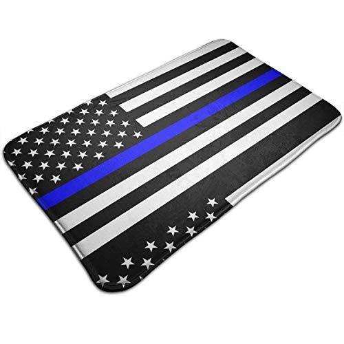 NOLIEE Doormat Thin Blue Line Blue Lives Matter Flag.png Doormat, Carpet Entrance Mat Floor Mat Rug Indoor/Bathroom Mats Rubber Non Slip Easy Clean(23.6