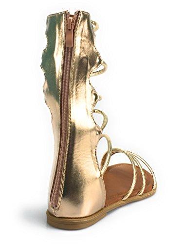 Per Sempre Donna Da Donna Tagliata Sandali Gladiatore Stivali Al Ginocchio Piatta Con Cinturino Rosa-goldkatia49