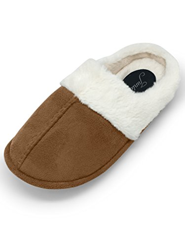 Junie's Women's Fur Lined Plush Clog House Slipper w/Memory Foam Insole, Taupe, Size Medium (Fur Lined Rubber Clogs)