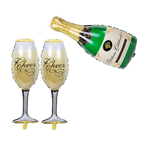Aluminum Champagne (Aerfas Aluminum Film Champagne Bottle and Goblet Hydrogen Foil Balloons For Bridal Wedding Celebration Birthday party decoration supplies)