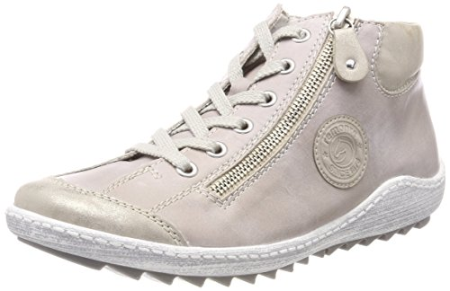 Dames Remonte R1488 Haute Beige Baskets (coquille / Glace)