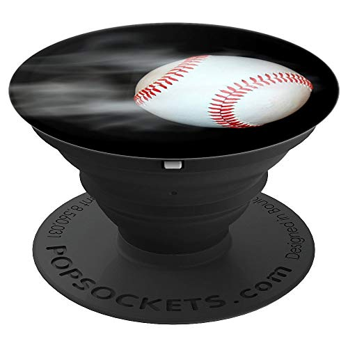 Cool Boys Girls White Moving Baseball on Black Sport Designs - PopSockets Grip and Stand for Phones and Tablets (Baseball Watches Mlb)