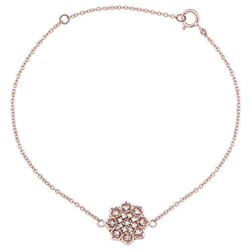 Gemstone Medallion Style Pendant - 10k Rose Gold Floral Style Diamond Pendant Bracelet