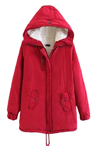 Long Pure Color Jacket Hooded Women Mid Pocket Velvet Outwear Warm Red Zip Howme xYSa8qS