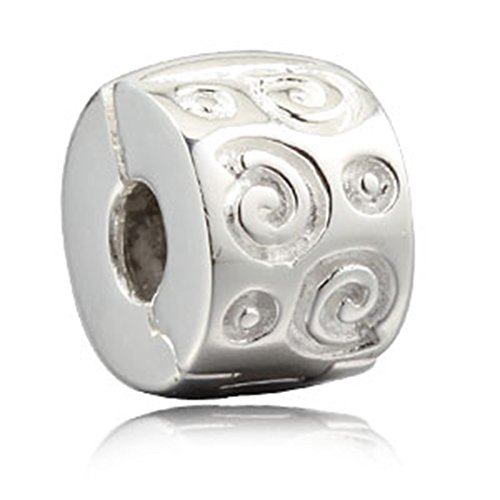 Dragon Circle Clip Charm 925 Sterling Silver Lock Stopper Charm Clips Beads fit DIY Charms Bracelets (Silver Lock 925)