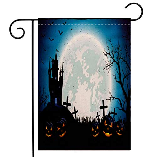 Custom Double Sided Seasonal Garden Flag Halloween Decorations Spooky Concept with Scary Icons Old Celtic Harvest Figures in Dark Image Blue Welcome House Flag for Patio Lawn Outdoor Home Decor -