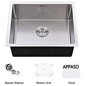 Image of Home Improvements APPASO 23-Inch Handmade Single Bowl Kitchen Sink Undermount, Commercial 18-Gauge Stainless Steel 10-Inch Deep Drop-In Laundry Utility Sink, R231810