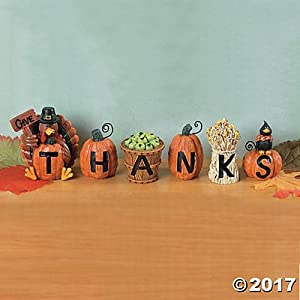 "Resin""Give Thanks"" Blocks (Set of 6) Fall Home Decor"