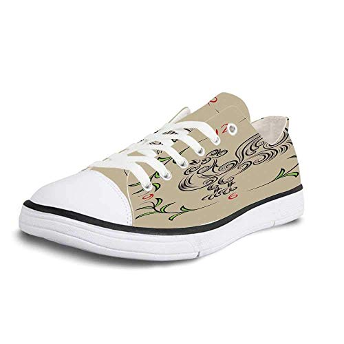 (Canvas Sneaker Low Top Shoes,Kitchen Decor Rooster and Floral Art Decorative Clock Time Swirls Leaves Farm Animal Theme Decoration Women 10/Man 7)