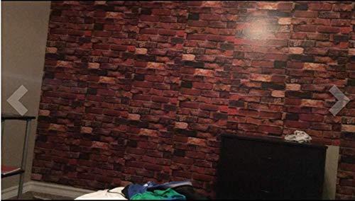 Yancorp Self Adhesive Wallpaper Rust Red Brown Brick