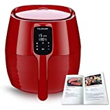 Air Fryer XL, 5.8QT Electric Large Deep Fryer Oil-free Touchscreen Healthy Cooker With Detachable Basket Dishwasher Safe Auto Shut Off, Include 50 Recipes Book, BBQ Rack and Skewers, Pizza Pan, Red