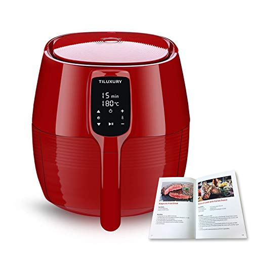 Air Fryer XL, 5.8QT Electric Large Deep Fryer Oil-free Touchscreen Healthy Cooker With Detachable Basket Dishwasher Safe Auto Shut Off, Include 50 Recipes Book, BBQ Rack and Skewers, Pizza Pan, Red (Best White Cake Recipe Paula Deen)