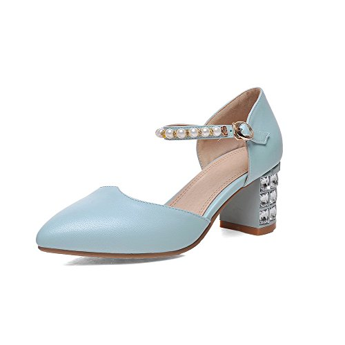 AllhqFashion Women's Kitten-Heels Soft Material Solid Buckle Closed Toe Sandals Blue