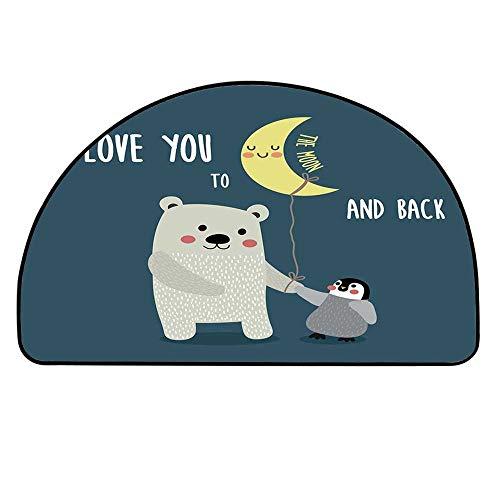 MOOCOM I Love You Semicircle Rug,Teddy Bear and Penguin Best Friends Arctic Lovers Under Moon Cartoon Decorative Floor Mat,35.4
