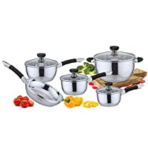 Pearington 9 Piece Stainless Steel Cookware Set, Black