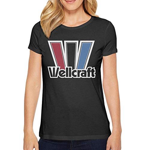 (Novelkseer Funny Womens Ladies Cotton Sports O-Neck Wellcraft-w-Logo-White- Black Short Sleeve T Shirts )