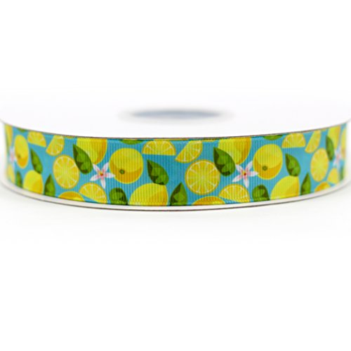 Midi Ribbon Fruit Lemon Design Pattern Print Deco Grosgrain Ribbon-7/8