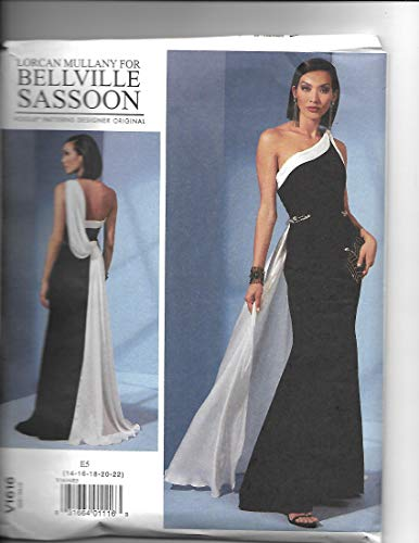 Vogue V1616 14-22 Sewing Pattern Ladies 1 Shoulder Gown with Draped Back