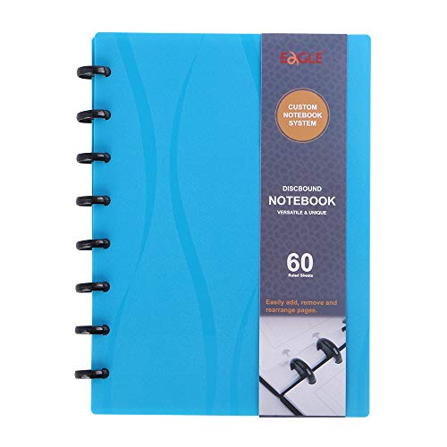 Eagle Discbound Notebook, Customizable Notebook, Junior Size, Poly Cover, 60 Sheets Ruled/Lined Pages (Blue)