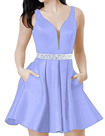 Lady Dress Women's Double V Neck Beaded Homecoming Dresses