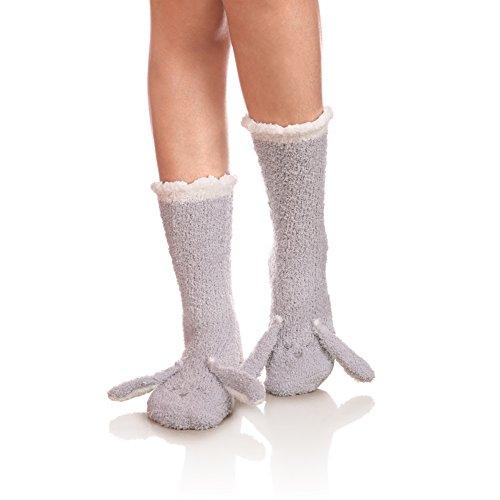 YEBING Women Super Soft Fuzzy 3D Cute Animal Cartoon Winter Warm Slipper Sock (Rabbit Gray) (Rabbit Socks)